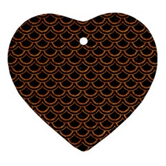 Scales2 Black Marble & Rusted Metal (r) Heart Ornament (two Sides)