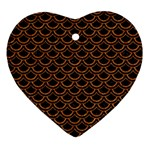 SCALES2 BLACK MARBLE & RUSTED METAL (R) Heart Ornament (Two Sides) Front
