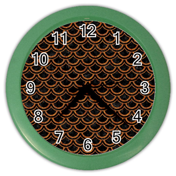 SCALES2 BLACK MARBLE & RUSTED METAL (R) Color Wall Clocks