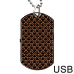 SCALES2 BLACK MARBLE & RUSTED METAL (R) Dog Tag USB Flash (One Side) Front