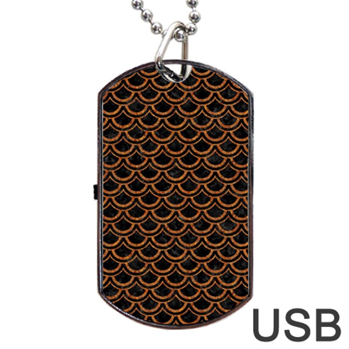 SCALES2 BLACK MARBLE & RUSTED METAL (R) Dog Tag USB Flash (One Side)