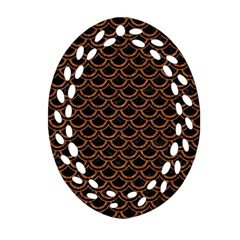 Scales2 Black Marble & Rusted Metal (r) Oval Filigree Ornament (two Sides)