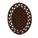 SCALES2 BLACK MARBLE & RUSTED METAL (R) Oval Filigree Ornament (Two Sides) Front
