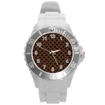 SCALES2 BLACK MARBLE & RUSTED METAL (R) Round Plastic Sport Watch (L) Front