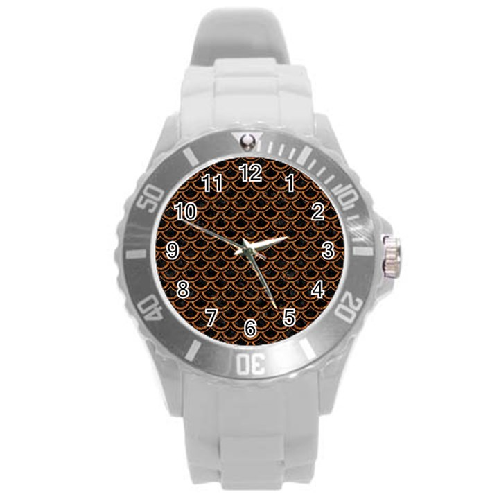 SCALES2 BLACK MARBLE & RUSTED METAL (R) Round Plastic Sport Watch (L)