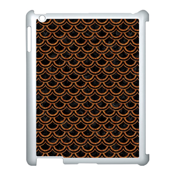 SCALES2 BLACK MARBLE & RUSTED METAL (R) Apple iPad 3/4 Case (White)