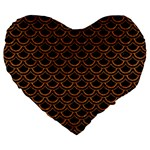SCALES2 BLACK MARBLE & RUSTED METAL (R) Large 19  Premium Heart Shape Cushions Front