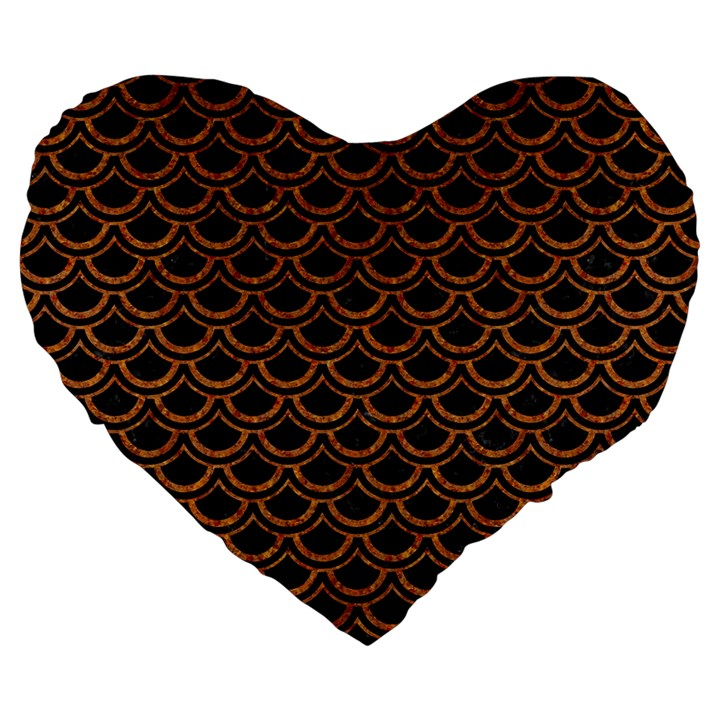 SCALES2 BLACK MARBLE & RUSTED METAL (R) Large 19  Premium Heart Shape Cushions