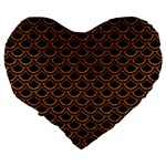 SCALES2 BLACK MARBLE & RUSTED METAL (R) Large 19  Premium Heart Shape Cushions Back