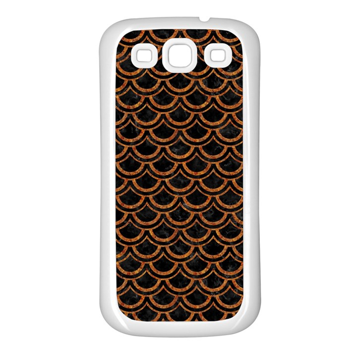 SCALES2 BLACK MARBLE & RUSTED METAL (R) Samsung Galaxy S3 Back Case (White)