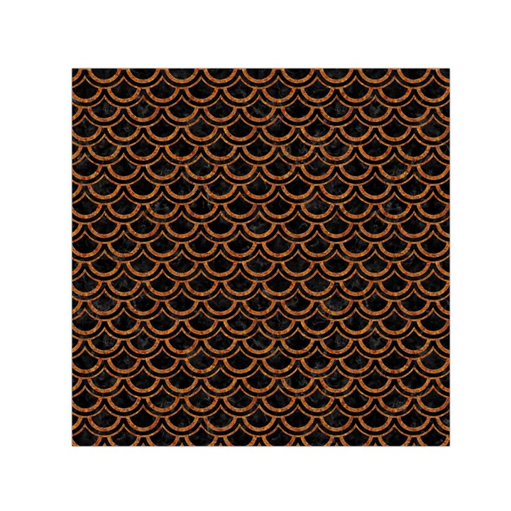 SCALES2 BLACK MARBLE & RUSTED METAL (R) Small Satin Scarf (Square)