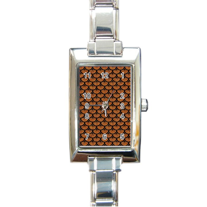 SCALES3 BLACK MARBLE & RUSTED METAL Rectangle Italian Charm Watch