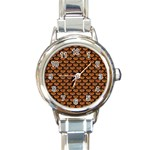 SCALES3 BLACK MARBLE & RUSTED METAL Round Italian Charm Watch Front