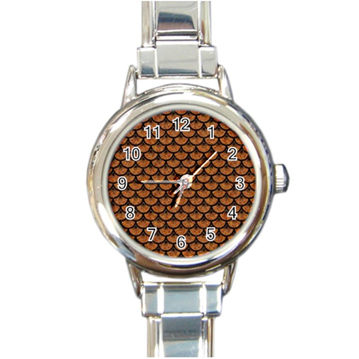 SCALES3 BLACK MARBLE & RUSTED METAL Round Italian Charm Watch
