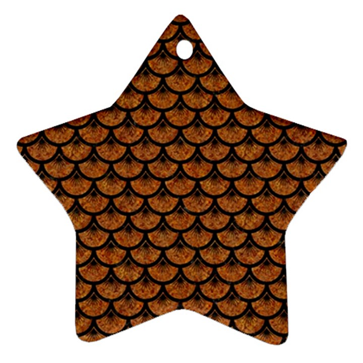 SCALES3 BLACK MARBLE & RUSTED METAL Ornament (Star)