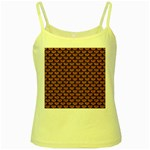 SCALES3 BLACK MARBLE & RUSTED METAL Yellow Spaghetti Tank Front