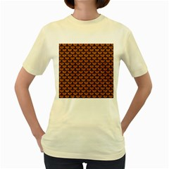 Scales3 Black Marble & Rusted Metal Women s Yellow T Shirt