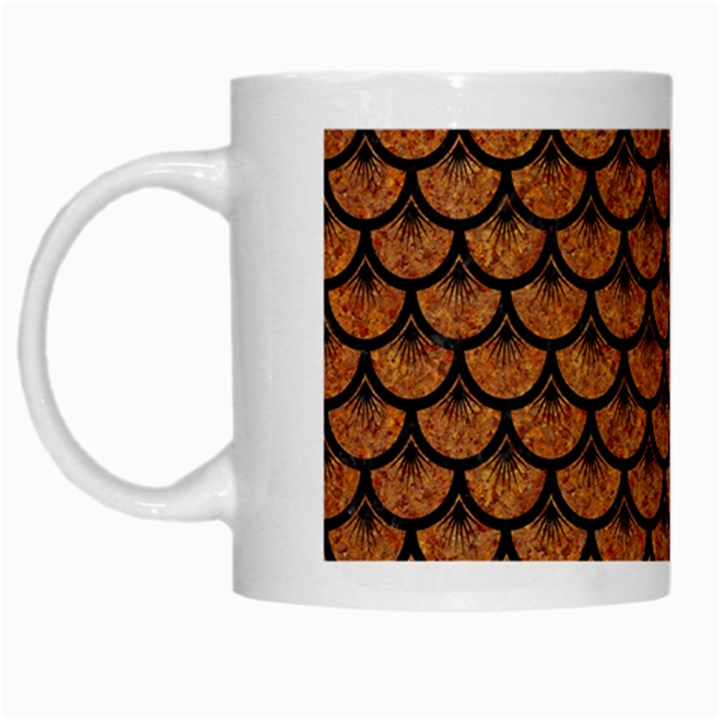 SCALES3 BLACK MARBLE & RUSTED METAL White Mugs