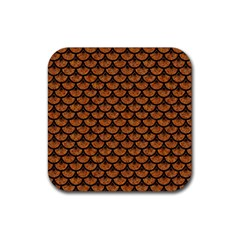 Scales3 Black Marble & Rusted Metal Rubber Square Coaster (4 Pack)