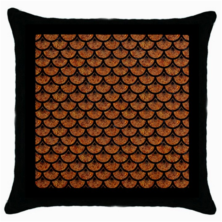 SCALES3 BLACK MARBLE & RUSTED METAL Throw Pillow Case (Black)