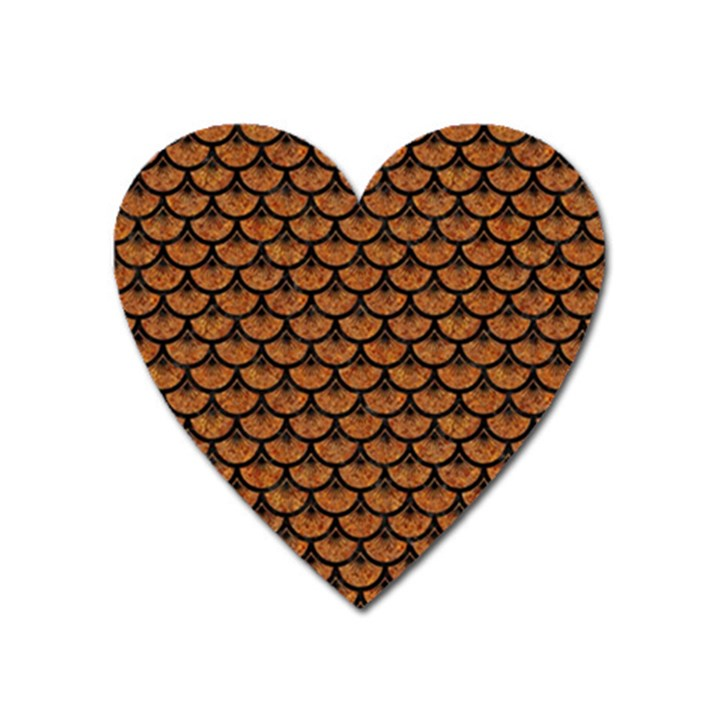 SCALES3 BLACK MARBLE & RUSTED METAL Heart Magnet