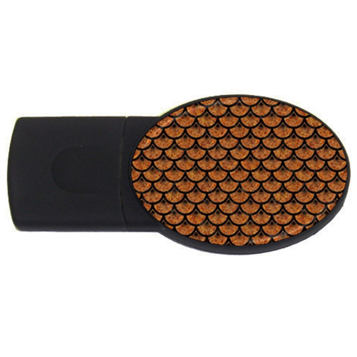 SCALES3 BLACK MARBLE & RUSTED METAL USB Flash Drive Oval (2 GB)