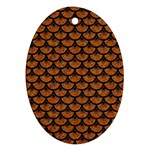 SCALES3 BLACK MARBLE & RUSTED METAL Oval Ornament (Two Sides) Front