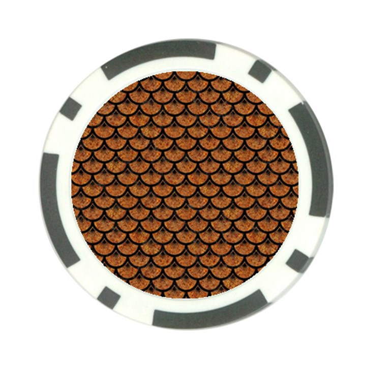 SCALES3 BLACK MARBLE & RUSTED METAL Poker Chip Card Guard