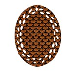 SCALES3 BLACK MARBLE & RUSTED METAL Ornament (Oval Filigree) Front