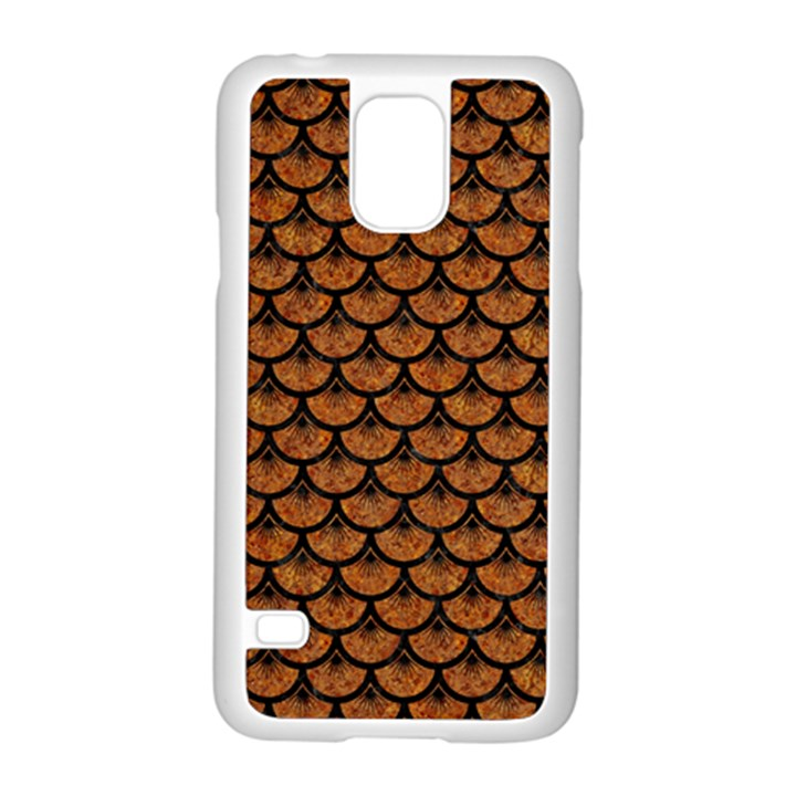 SCALES3 BLACK MARBLE & RUSTED METAL Samsung Galaxy S5 Case (White)