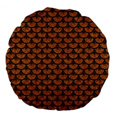 Scales3 Black Marble & Rusted Metal Large 18  Premium Flano Round Cushions