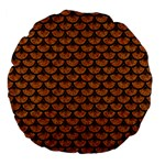 SCALES3 BLACK MARBLE & RUSTED METAL Large 18  Premium Flano Round Cushions Back