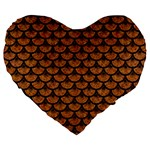 SCALES3 BLACK MARBLE & RUSTED METAL Large 19  Premium Flano Heart Shape Cushions Front