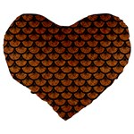 SCALES3 BLACK MARBLE & RUSTED METAL Large 19  Premium Flano Heart Shape Cushions Back