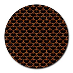 Scales3 Black Marble & Rusted Metal (r) Round Mousepads