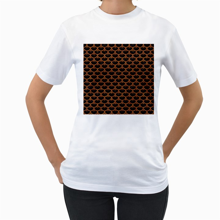 SCALES3 BLACK MARBLE & RUSTED METAL (R) Women s T-Shirt (White) (Two Sided)