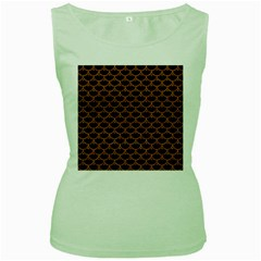 Scales3 Black Marble & Rusted Metal (r) Women s Green Tank Top