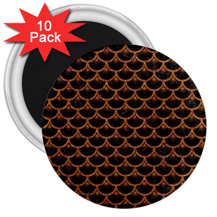SCALES3 BLACK MARBLE & RUSTED METAL (R) 3  Magnets (10 pack)