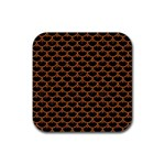 SCALES3 BLACK MARBLE & RUSTED METAL (R) Rubber Coaster (Square)  Front