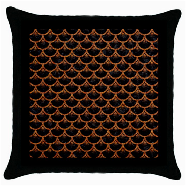 SCALES3 BLACK MARBLE & RUSTED METAL (R) Throw Pillow Case (Black)