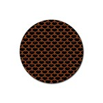 SCALES3 BLACK MARBLE & RUSTED METAL (R) Rubber Coaster (Round)  Front