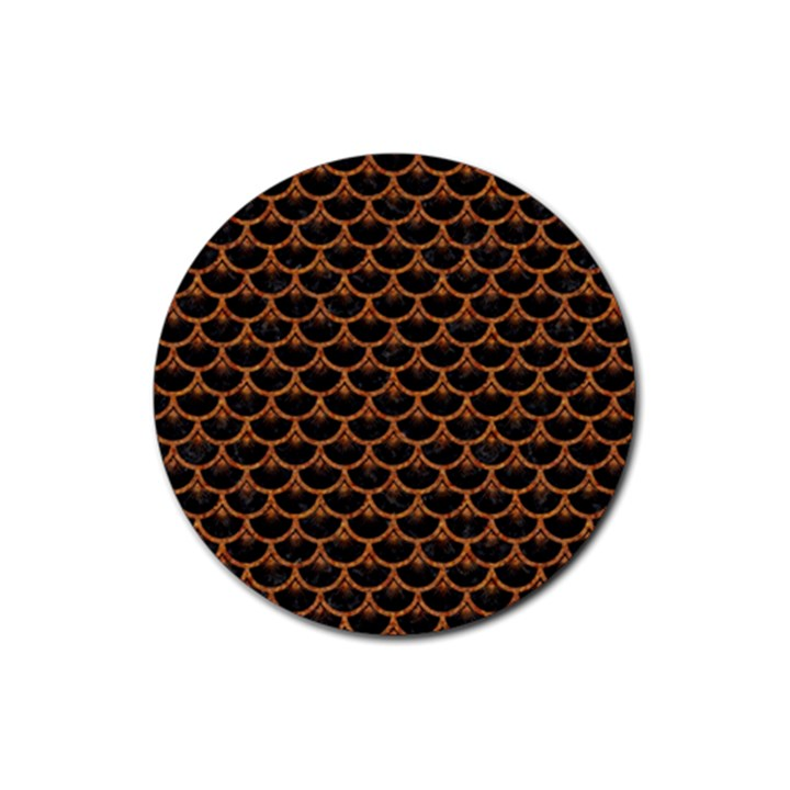SCALES3 BLACK MARBLE & RUSTED METAL (R) Rubber Coaster (Round)