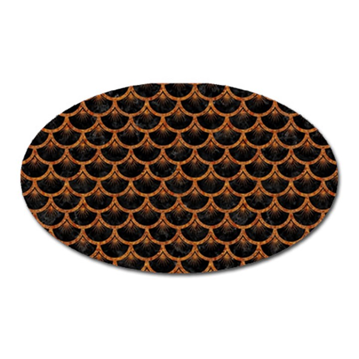 SCALES3 BLACK MARBLE & RUSTED METAL (R) Oval Magnet