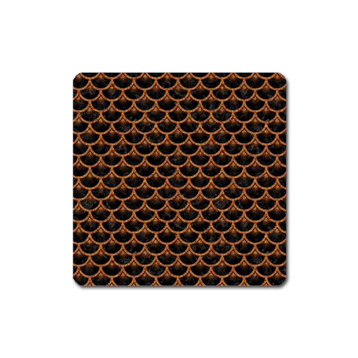 SCALES3 BLACK MARBLE & RUSTED METAL (R) Square Magnet