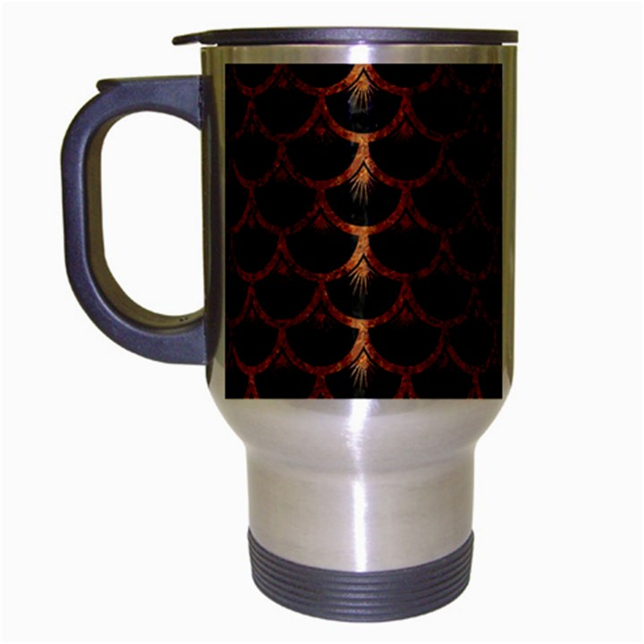 SCALES3 BLACK MARBLE & RUSTED METAL (R) Travel Mug (Silver Gray)