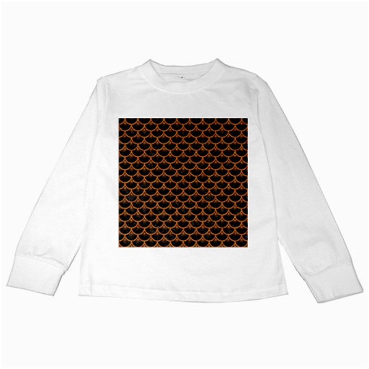 SCALES3 BLACK MARBLE & RUSTED METAL (R) Kids Long Sleeve T-Shirts