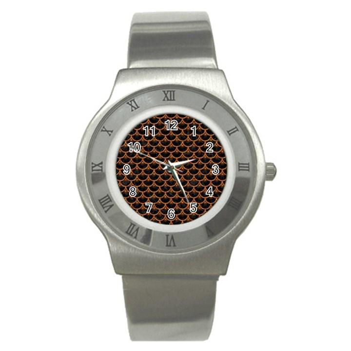 SCALES3 BLACK MARBLE & RUSTED METAL (R) Stainless Steel Watch