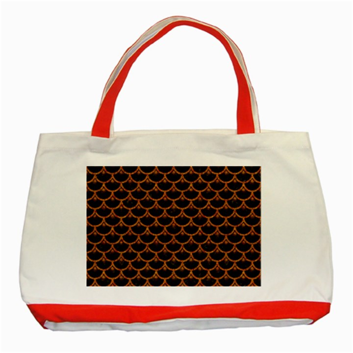 SCALES3 BLACK MARBLE & RUSTED METAL (R) Classic Tote Bag (Red)