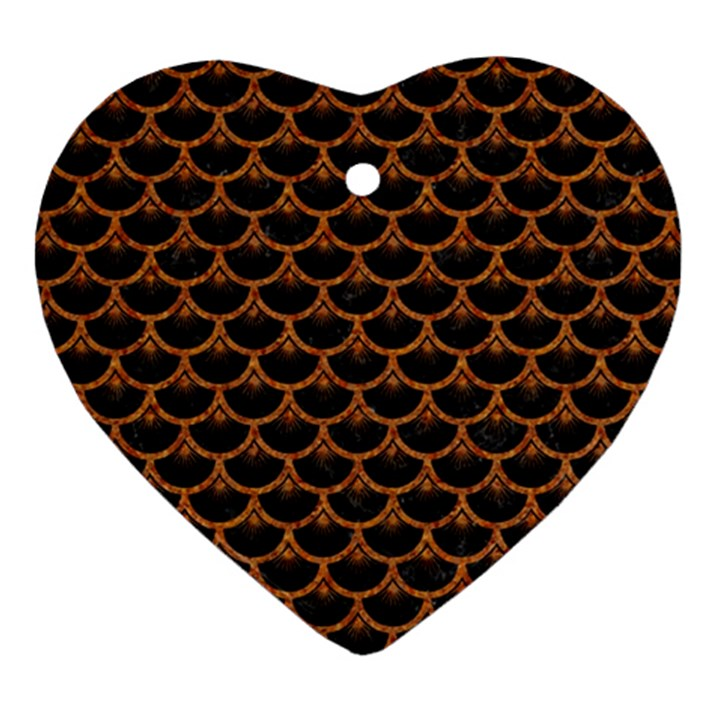 SCALES3 BLACK MARBLE & RUSTED METAL (R) Heart Ornament (Two Sides)