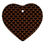 SCALES3 BLACK MARBLE & RUSTED METAL (R) Heart Ornament (Two Sides) Back